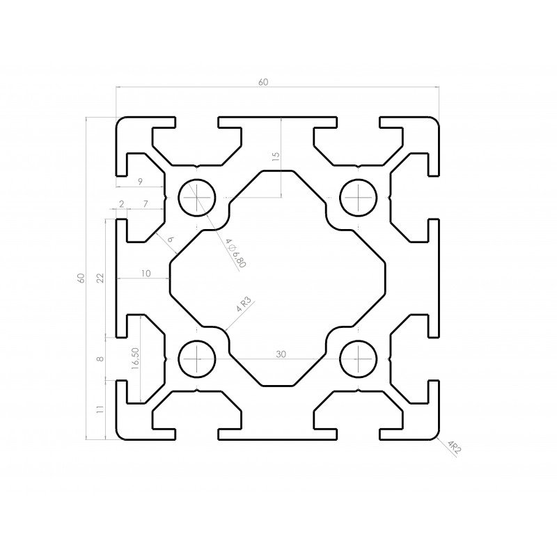 Profilé aluminium 60x60 fente 8 mm - type lourd