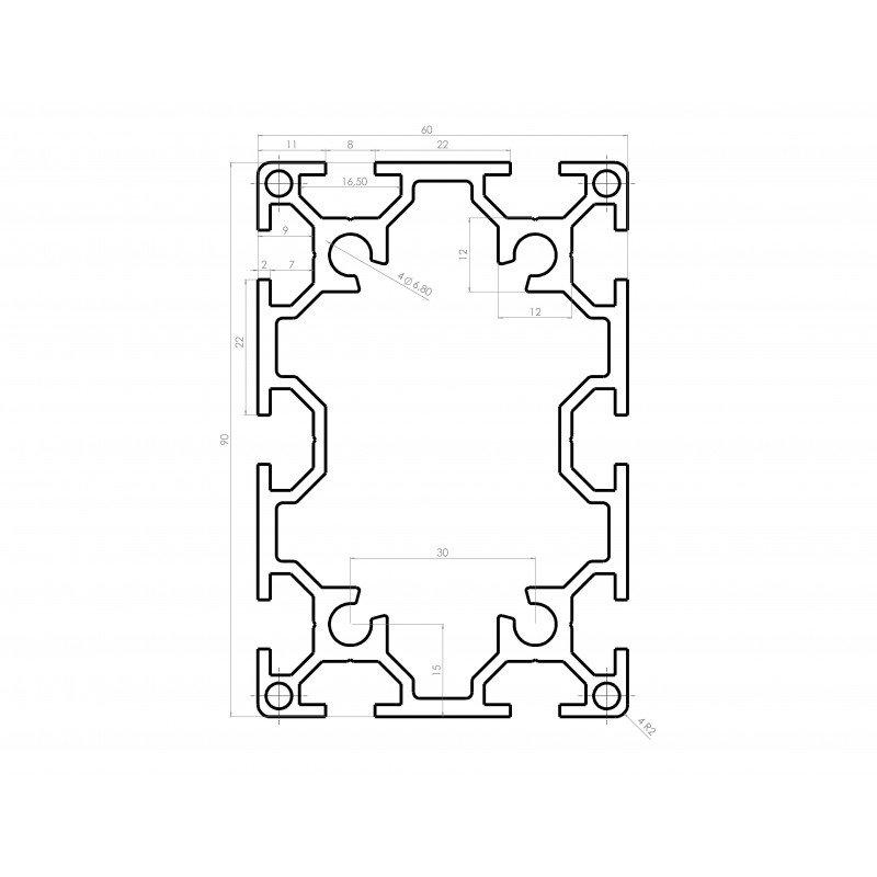 Profilé aluminium 60x90 fente 8 mm