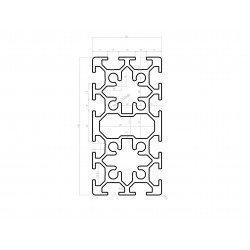 Profilé aluminium 50x100 - fente de 8 mm