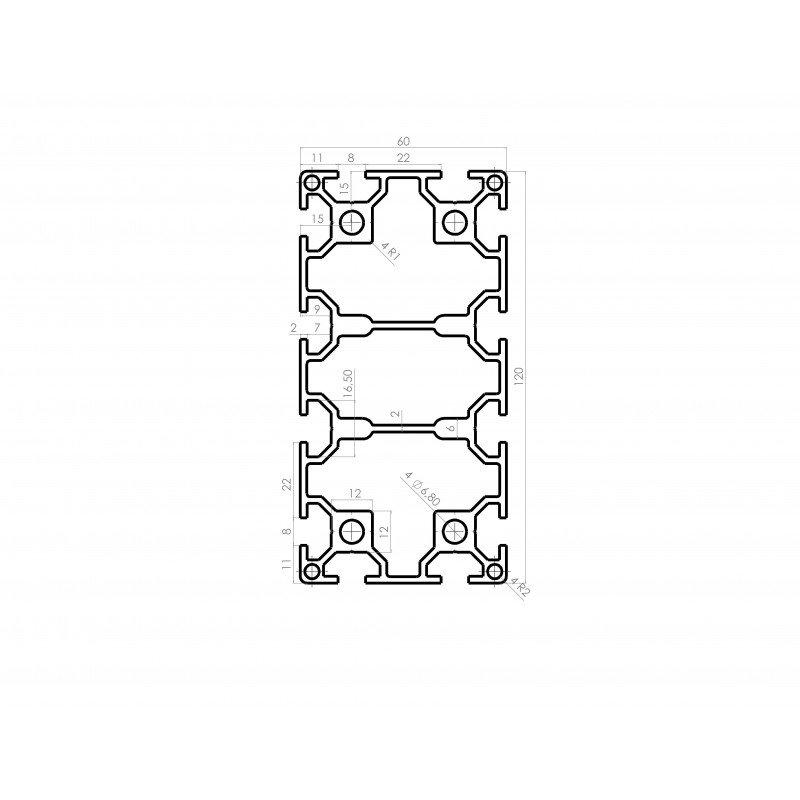 Profilé aluminium 60x120 fente 8 mm