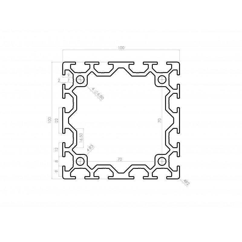 Profilé aluminium 100x100 fente 8 mm