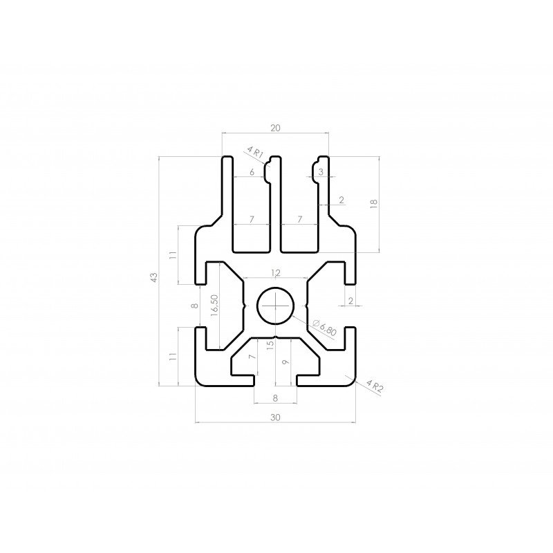 Aluminium profile 30x30 8mm slot for sliding panel – 2 rows