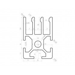 Aluminium profile 30x30 8mm slot for sliding panel – 3 rows