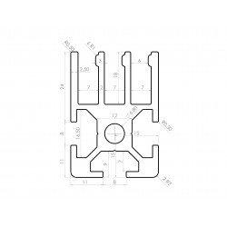 Profilé aluminium 30x30 fente de 8 mm pour panneau coulissant - 3 rangées