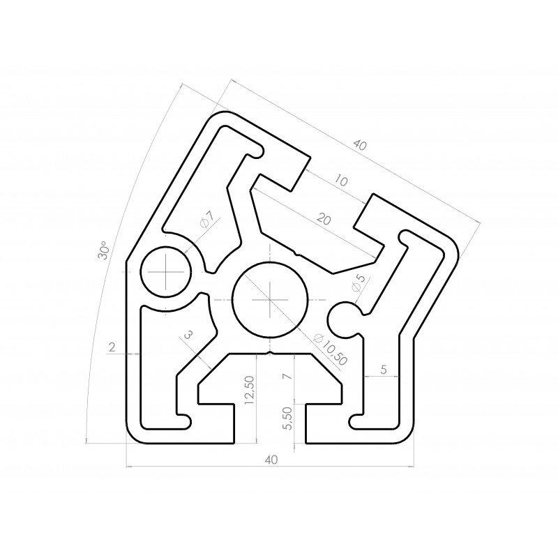 Aluminium profile 40x40 30° angle – 10mm slot