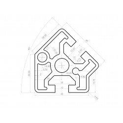 Aluminium profile 40x40 45° angle – 10mm slot