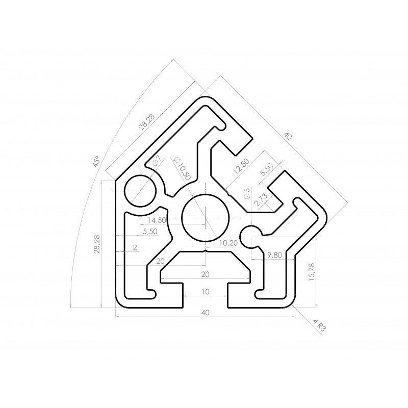 Profilé aluminium 40x40 angle de 45° fente 10 mm