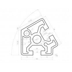 Profilé aluminium 40x40 angle de 60° fente 10 mm
