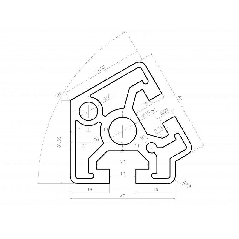 Aluminium profile 40x40 60° angle – 10mm slot