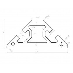Triangular aluminium profile 40x40 – 8mm slot