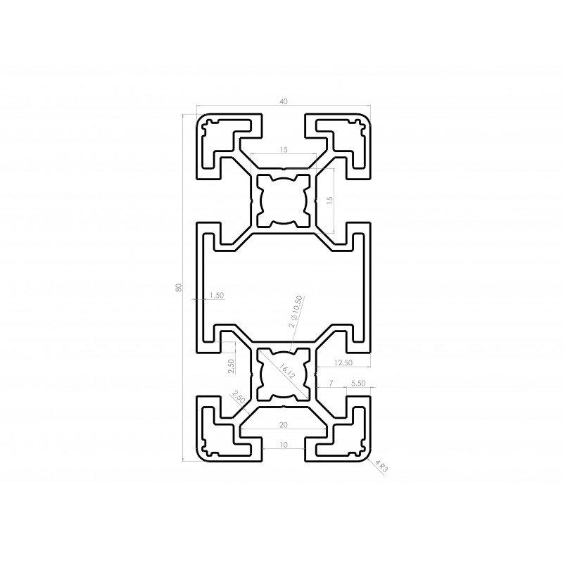 Profilé aluminium 40x80 fente 10 mm anodisé noir - type léger