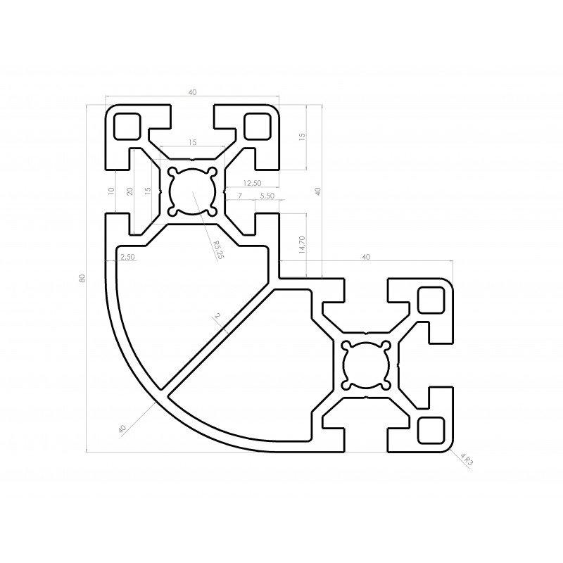 Rounded L-shaped aluminium profile 80x80x40 – 10mm slot