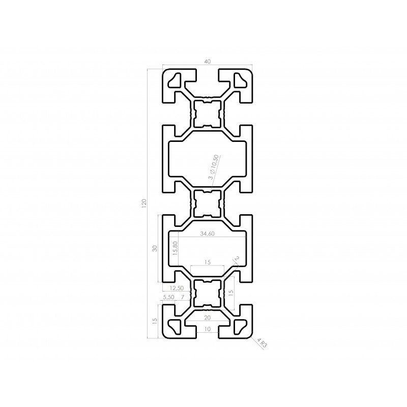 Profilé aluminium 40x120 fente 10 mm
