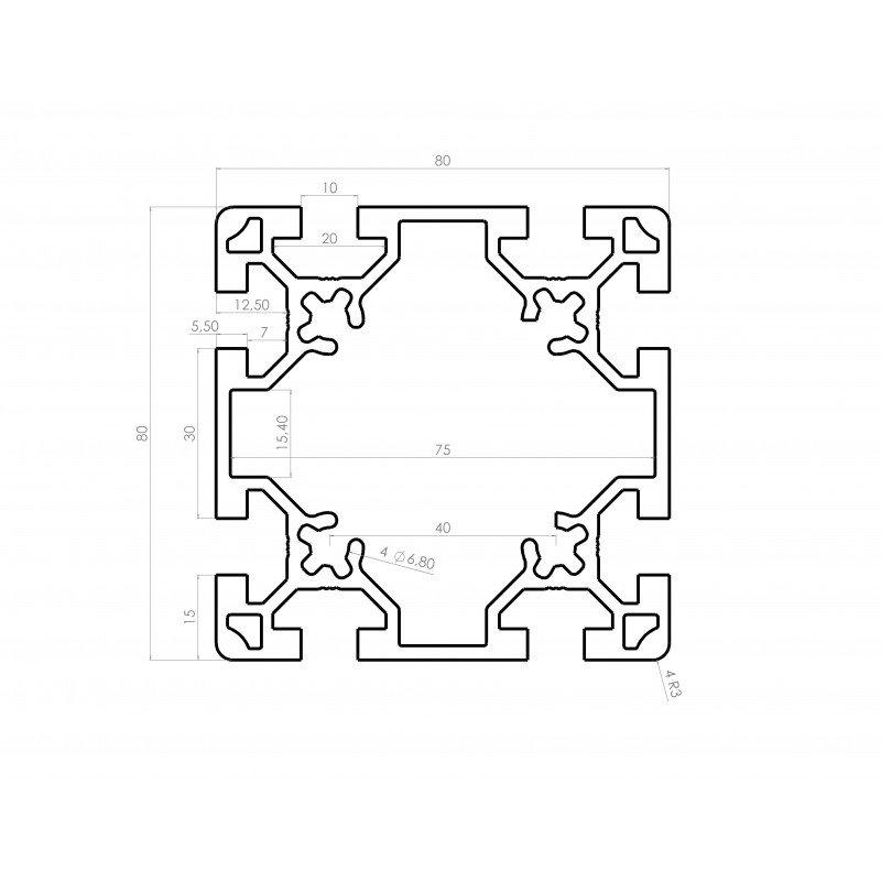 Profilé aluminium 80x80 fente 10 mm