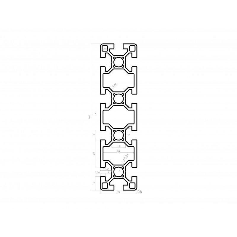 Profilé aluminium 40x160 fente 10 mm