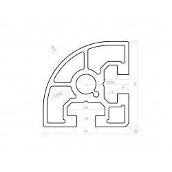 Profilé aluminium arrondi 45x45 - fente de 10 mm