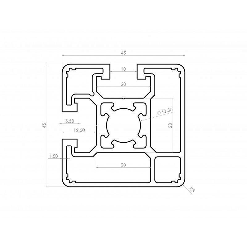 Profilé 45x45 fente 10 mm - type léger