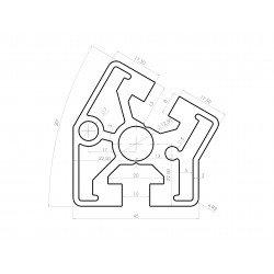 Profilé aluminium 45x45 angle de 30° - fente de 10 mm