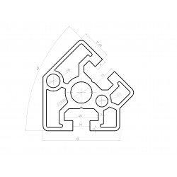 Profilé aluminium 45x45 angle de 45° - fente de 10 mm