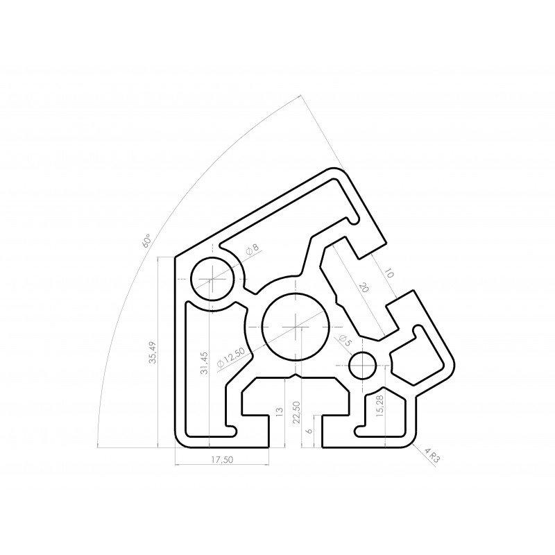 Profilé aluminium 45x45 angle de 60° - fente de 10 mm