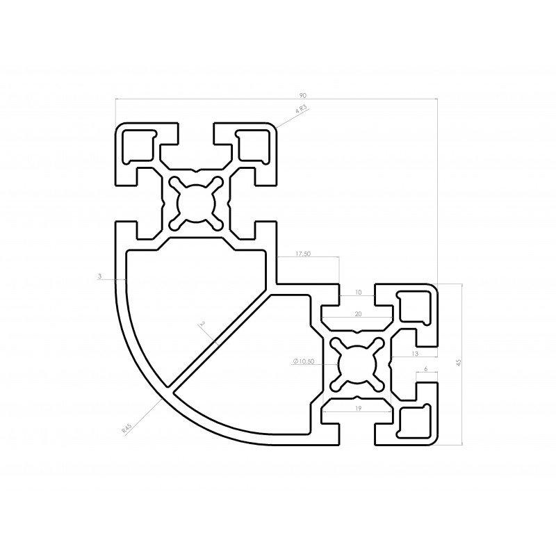 Profilé aluminium en L 90x90x45 arrondi à fente de 10mm