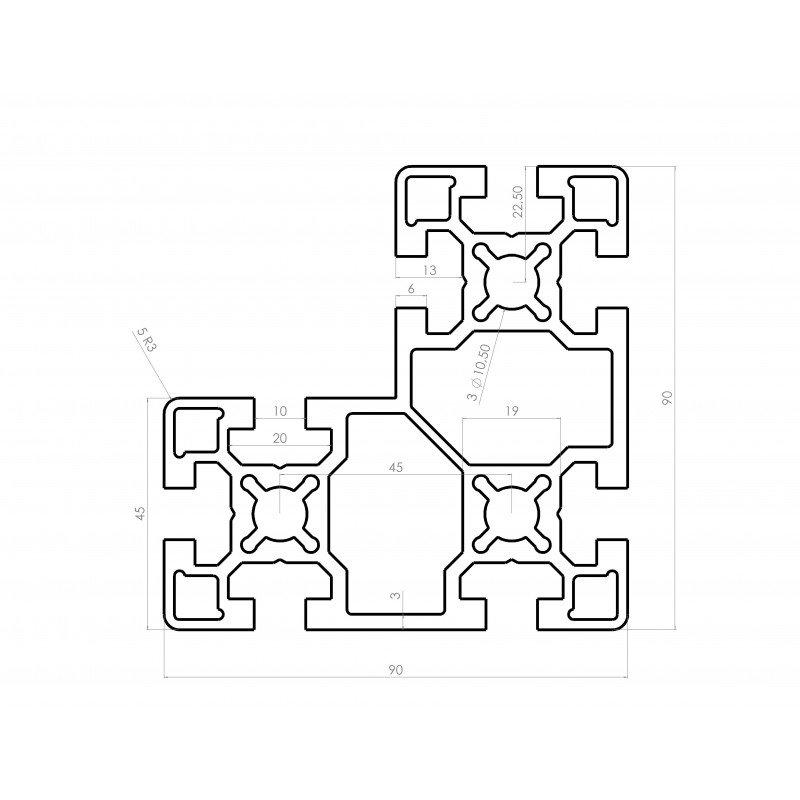 Profilé aluminium en L 90x90x45 - fente de 10 mm