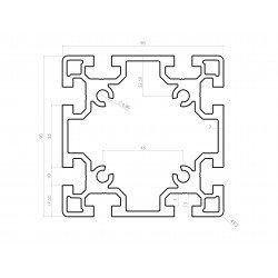 Aluminium profile 90x90 10mm slot