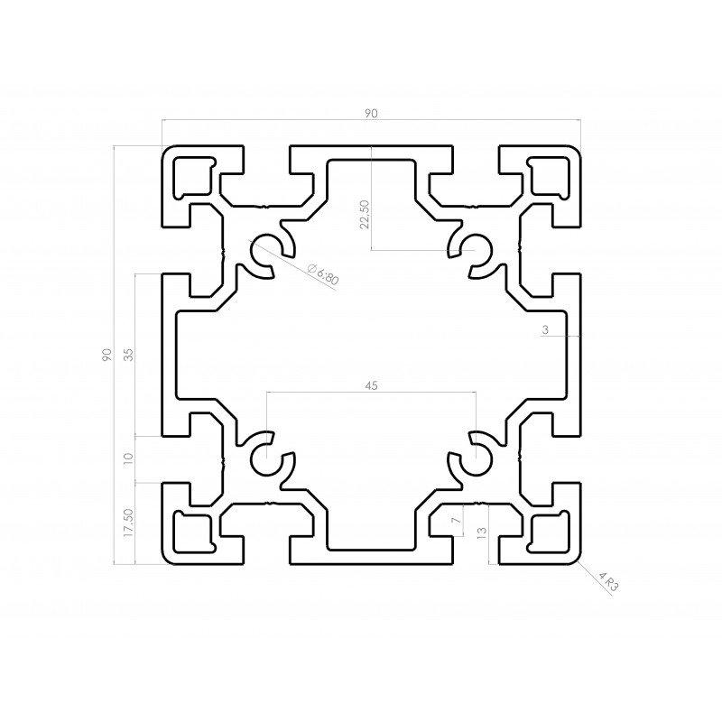 Profilé aluminium 90x90 fente 10 mm