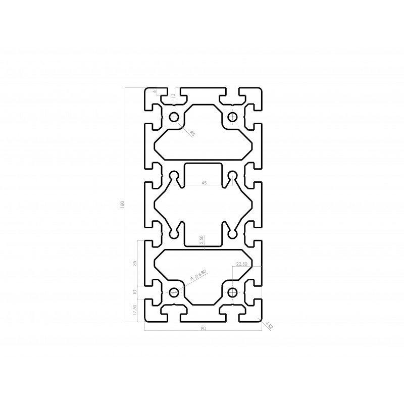 Profilé aluminium 90x180 fente 10 mm