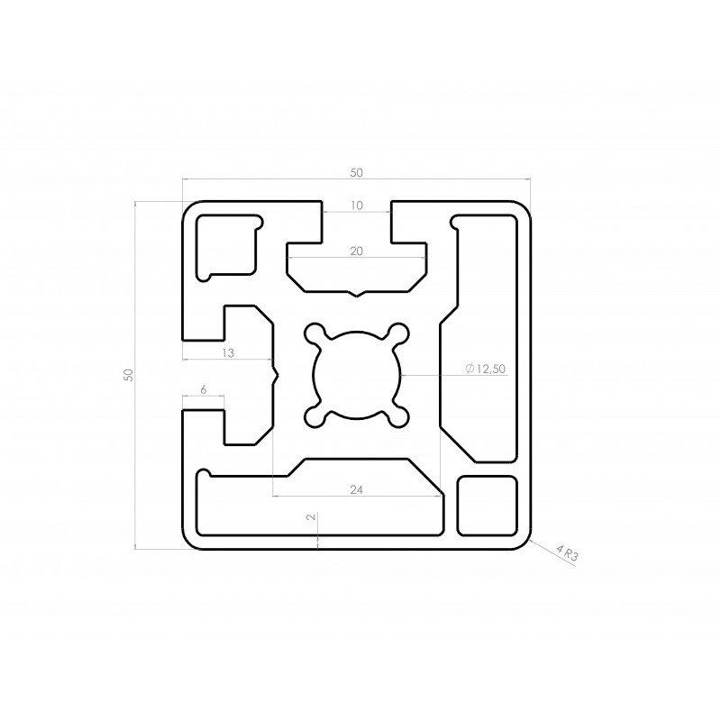 Profilé aluminium 50x50 fente 10 mm
