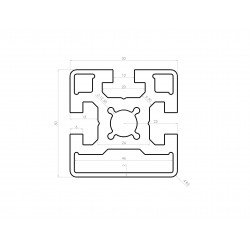 Aluminium profile 50x50 10mm slot