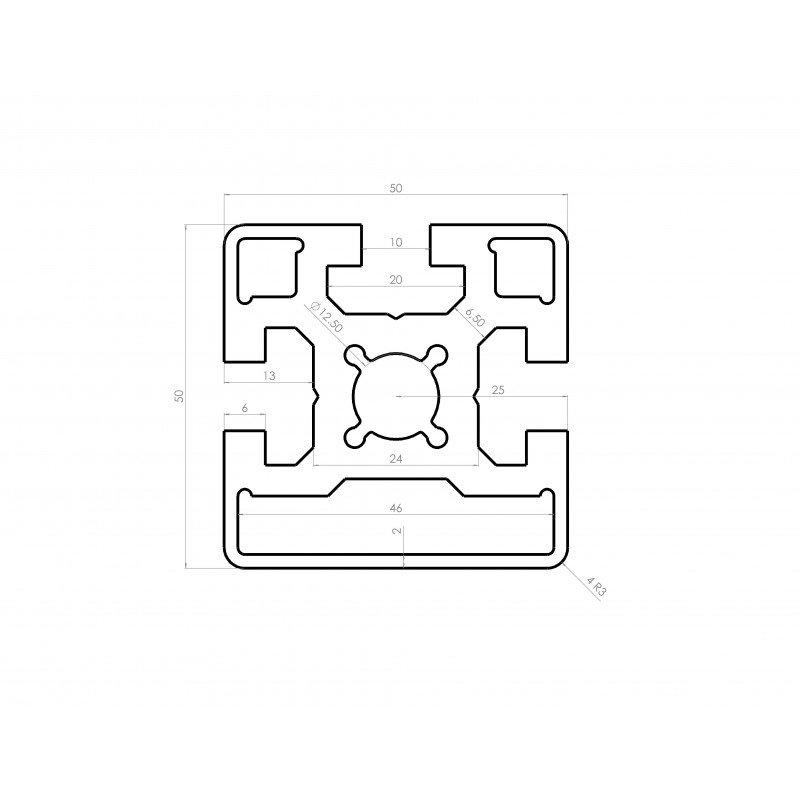 profil aluminium 50x50 fente 10 mm syst al. Black Bedroom Furniture Sets. Home Design Ideas