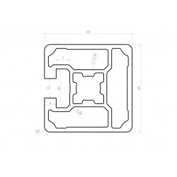 Aluminium profile 45x45 10mm slot