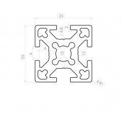 Aluminium profile 25x25 6mm slot
