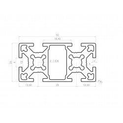 Aluminium profile 25x50 6mm slot