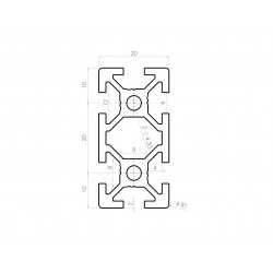 Aluminium profile 20x40 6mm slot black anodised