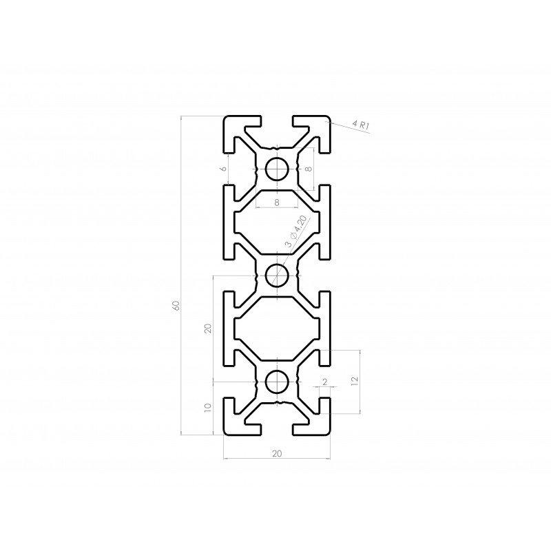 Profilé aluminium 20x60 fente 6 mm