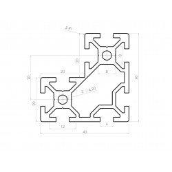 Profilé aluminium en L 40x40x20 - fente de 6 mm