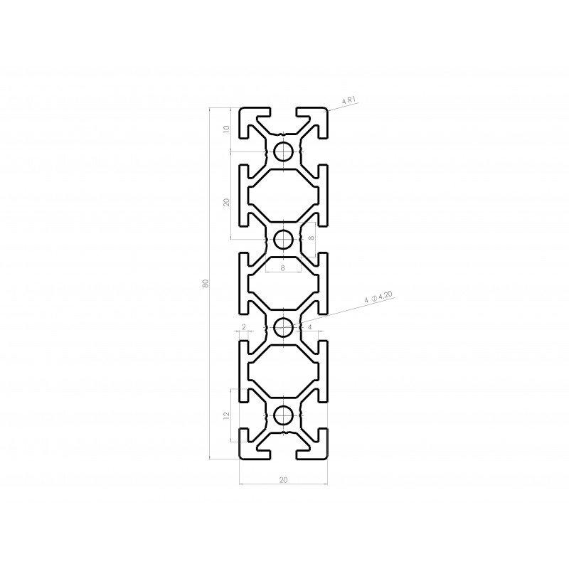 Profilé aluminium 20x80 fente 6 mm