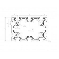 Aluminium profile 40x60 6mm slot