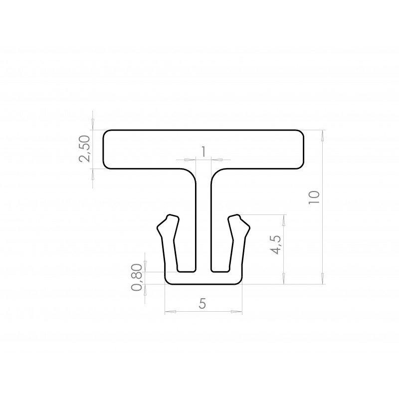 Slide track/aluminium profile connector 6mm