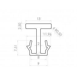 Slide track/aluminium profile connector 10mm
