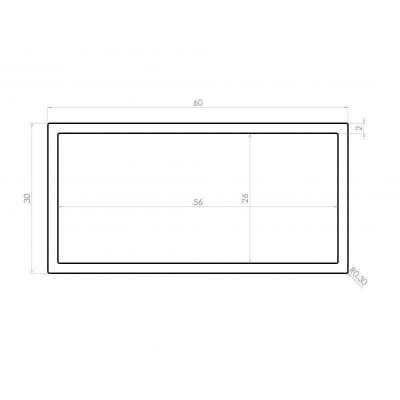 profil aluminium tube carr 30x60 syst al. Black Bedroom Furniture Sets. Home Design Ideas