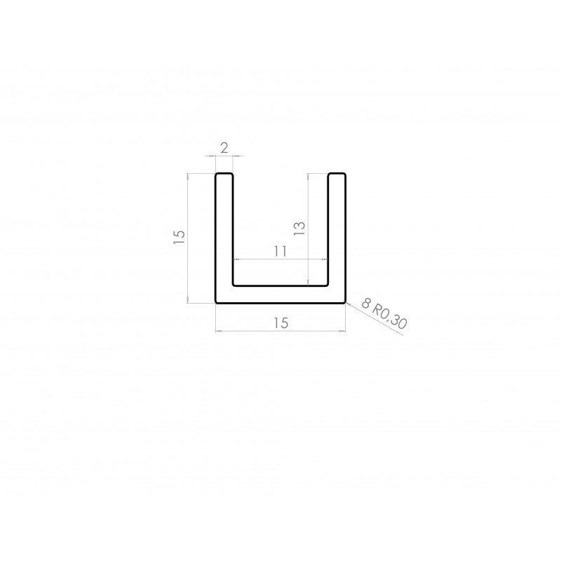 profil aluminium en u 15x15 syst al. Black Bedroom Furniture Sets. Home Design Ideas