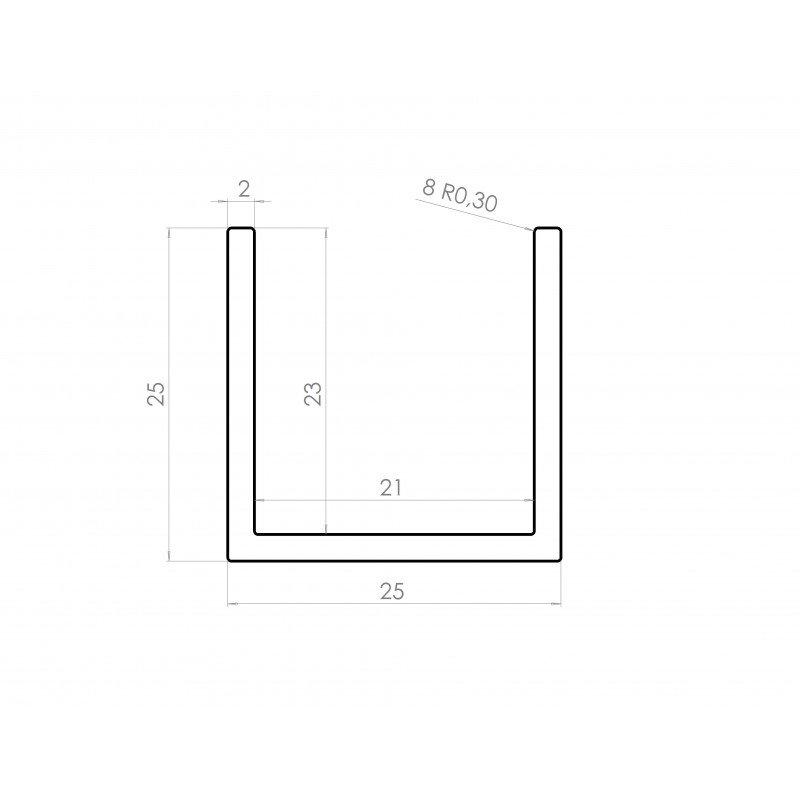 profil aluminium en u 25x25 syst al. Black Bedroom Furniture Sets. Home Design Ideas