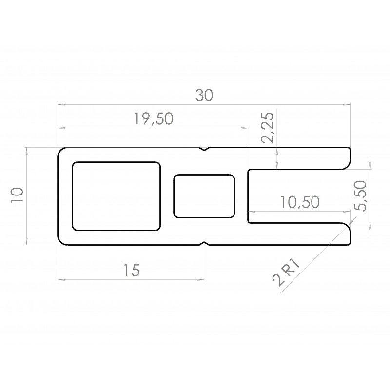 Profilé en C pour cadre épaisseur 5 mm - largeur 30 mm