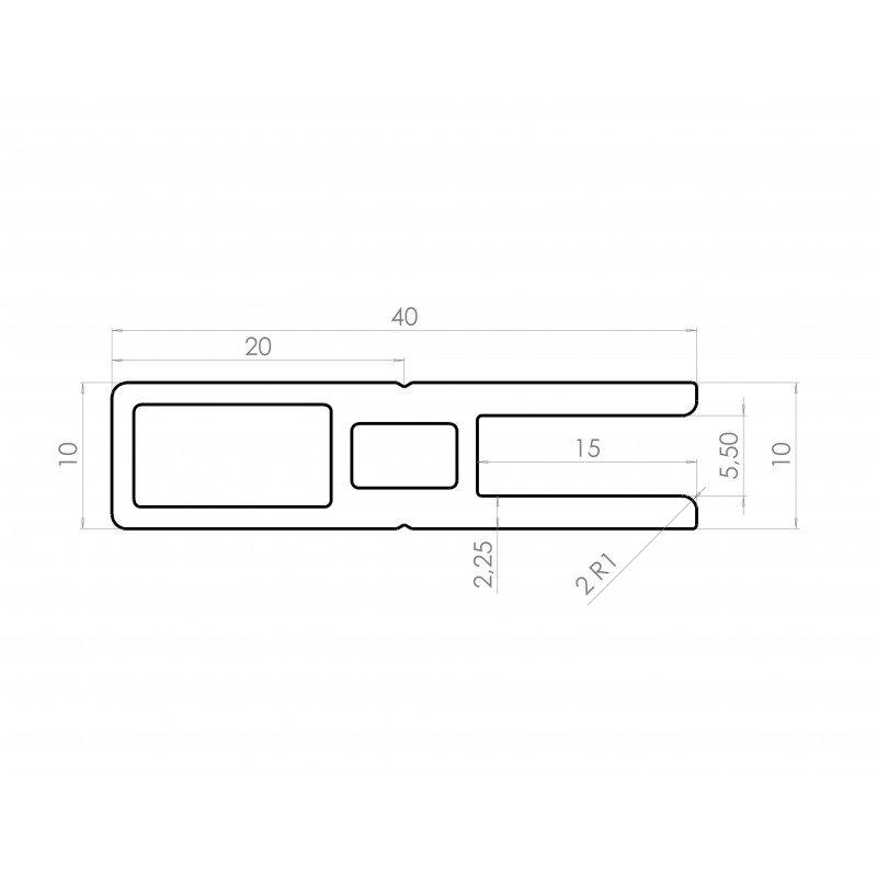 Profilé en C pour cadre épaisseur 5 mm - largeur 40 mm