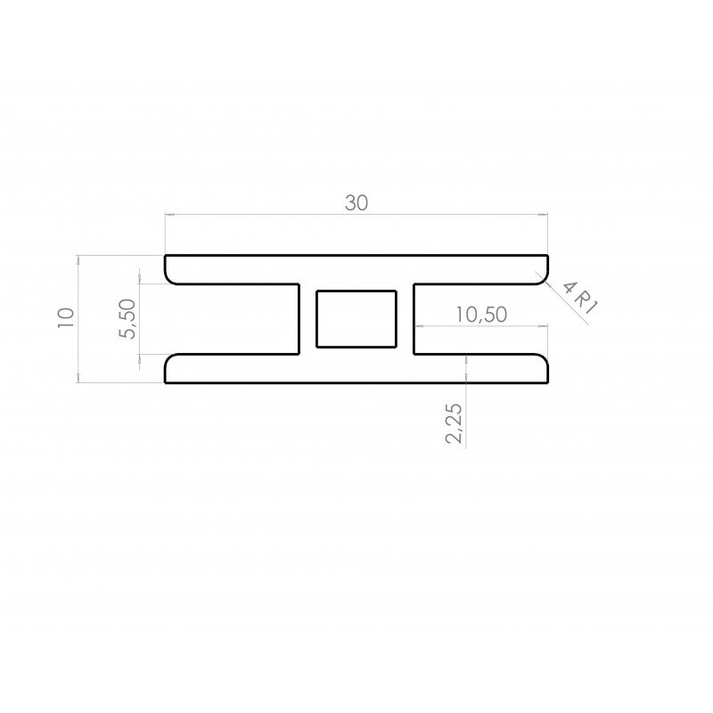 H-shaped profile for 5mm-thick frame – 30mm wide