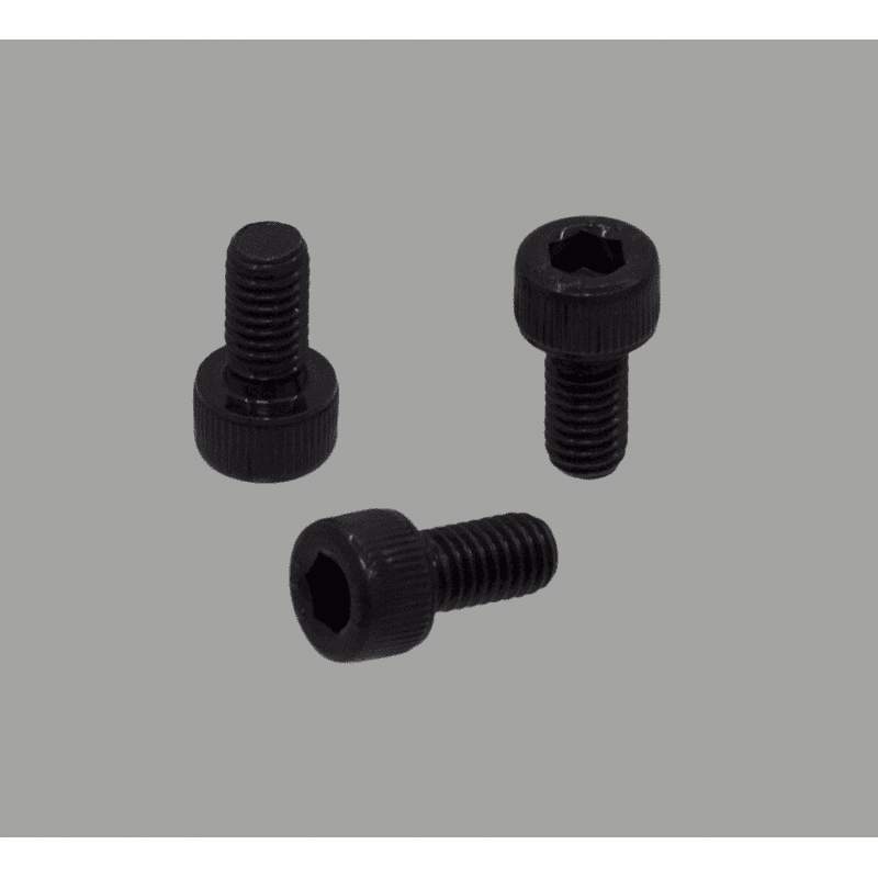 Pack of 10 black fastening screws for 8mm slot profiles – M6 threading – Socket cap screw