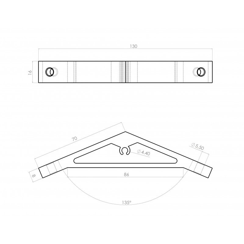 Fastening bracket 135° for 6mm profile with one groove